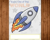 Printable Space Valentine Cards. DIY Rocket Valentine's Day Cards. Boy Valentine Cards. Out of this World Card.