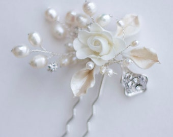 Bridal Hair Pins. Silk Flower and Pearl & Rhinestone Hair Pin. Wedding Hair accessories. Bridal Jewelry.