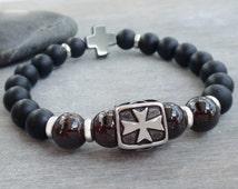 Cross bead bracelet Mens bracelet bead Gift for Men Love & Protection bracelet Garnet, Black onyx bracelet Maltese cross Matte onyx bracelet