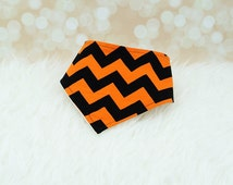 Halloween Bandana Bib - Big Orange and Black Chevron Baby Bandana Drool Bib