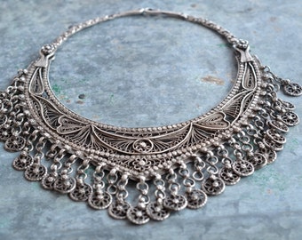 Indian torc sterling silver necklace goddess luxury filagree dangles and tassels etched bib neck piece.