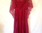 vintage red dress 1970s 70s bohemian dress lace shawl dress red dress with pleats small formal red dress