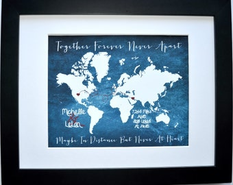 Long distance relationship, gift for her, anniversary gift, for him, boyfriend girlfriend gifts, map present for husband wife fiance
