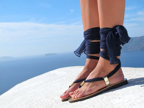 Greek sandals, Luxurious Sandals with silk scarf laces, Bridal sandals, Wedding flats. Fully Customizable. Sophia - Free standard shipping