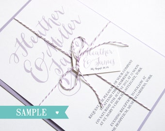 Romantic Script Wedding Invitation SAMPLE