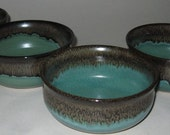 Pottery Soup and Salad Bowl, Set of 4, Wheel Thrown, Lead-free, Microwave, Dishwasher Safe