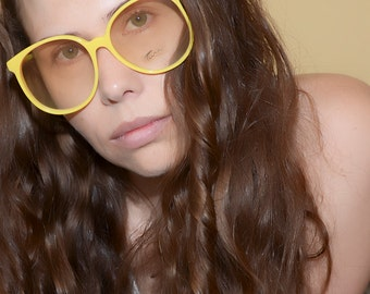 Tura Yellow Oversized Eyeglasses Large Frames  NOS