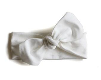 Baby Headband    Organic Cotton Headband    Pure White    Ouba Exclusive