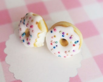 donut earrings, Donut ear studs, with white glaze and sprinkles, food jewelry, miniature food, gift, valentine gift, kawaii donut