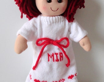 Red Hair Personalized Doll, Choose your dress color, Rag Doll, Flower Girl Gift, Girls Gift, Holiday Gift, Birthday Gift