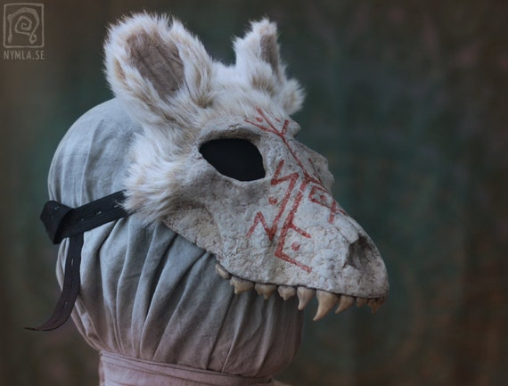 White Wolf Skull Mask with Runes Papier maché Eco