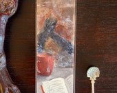 Watercolor bookmark, Fireplace and Tea Bookmark, Fall bookmark, Autumn bookmark, Winter BookMark, book lover gift, cozy home watercolor, art