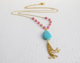 Summer SALE - Pink jade necklace, Turquoise drop necklace, Gold tassel necklace