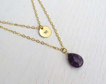 Double strand initial necklace, Personalized Layered necklace, Gold amethyst necklace