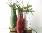 Christmas Table Decor, Milk Bottle Vase, Christmas Party Decorations, Bud Vase, Painted Milk Bottles, Christmas Mantle, Rustic Home Decor
