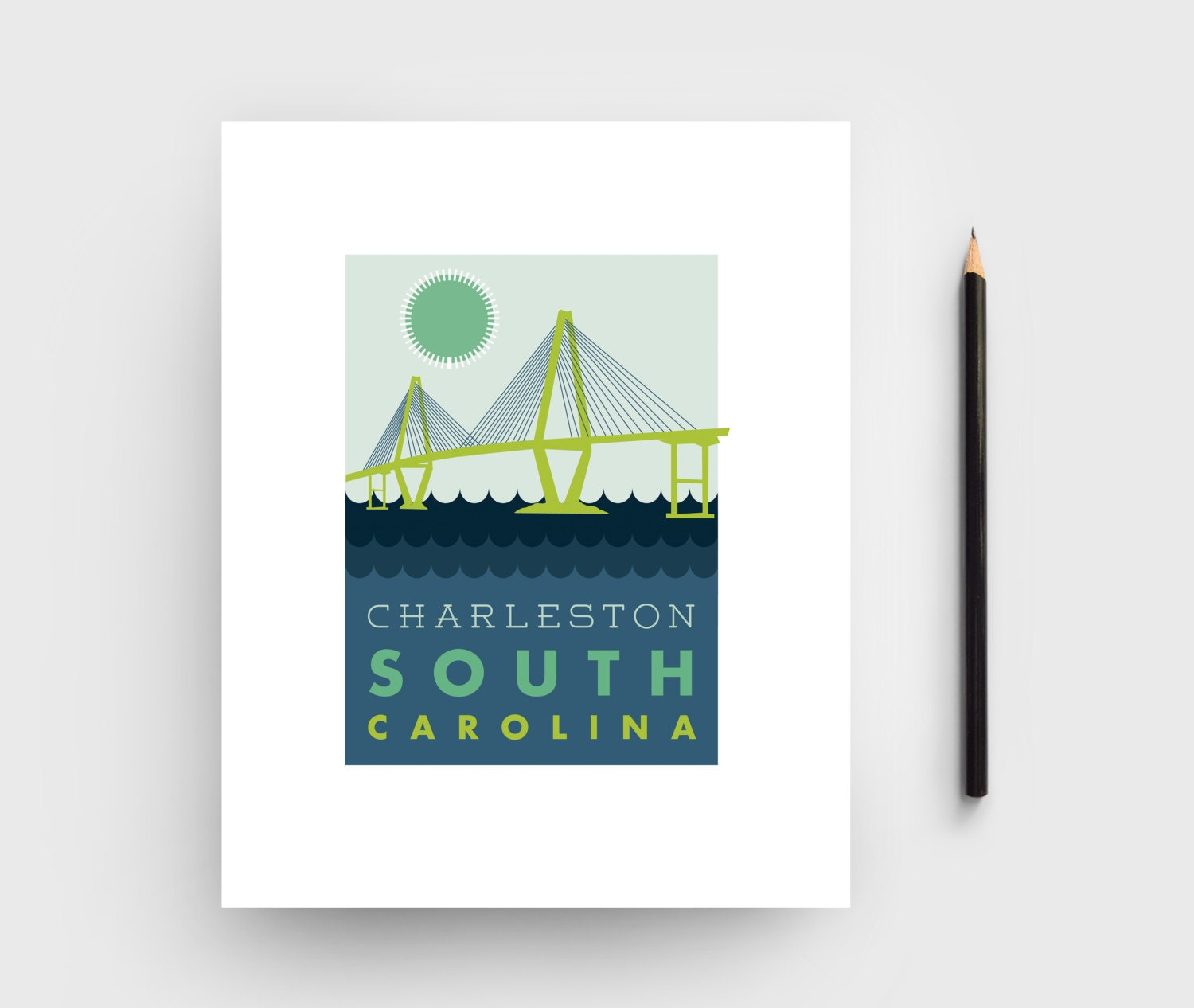 8x10 charleston bridge graphic print charleston sc artwork for T shirt printing charleston sc