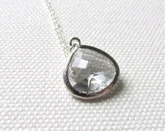 Crystal Clear Necklace Sterling Silver Chain Teardrop Pretty Faceted Stone Bridesmaid Gift Minimal Necklace