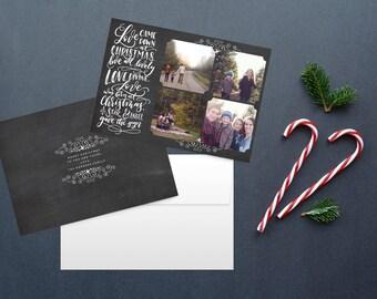 Photo Christmas Card, christian christmas cards, Calligraphy christmas card, custom christmas card, holiday cards, printable christmas card