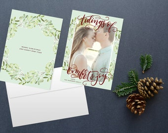 Hand lettered Christmas card, photo card, photo christmas cards, custom christmas card, printable christmas cards, mint christmas card