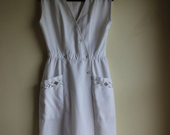 1990s White Crisscross Dress || Size 6 || Medium || Retro Day Dress