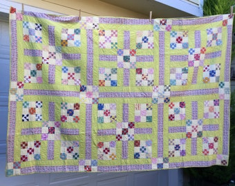 Handmade Cotton Patchwork Quilt – 1930s Hand Stitched Old Bedspread 54 X 76 Inches