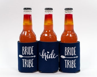 Bride Tribe Can Cooler | Navy Blue with white letters Bride Tribe Can Cooler| Bachelorette Party Favor | Bride Tribe Party Favor | Box 114|