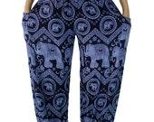 Elephant pants /Boho pants /Hippies pants /Unisex Harem pants one size fits Navy