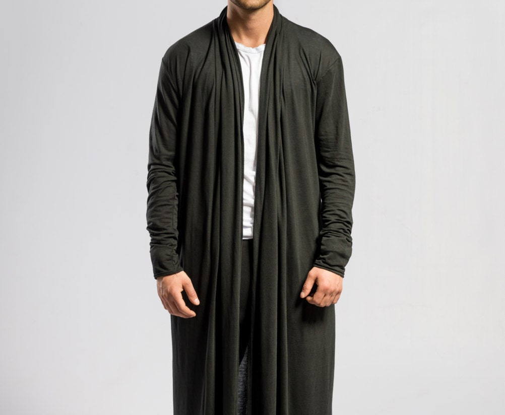 Mens black cardigan / Long black cardigan / Long robe / Draped