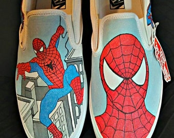 Hand-painted Spiderman on Vans shoes