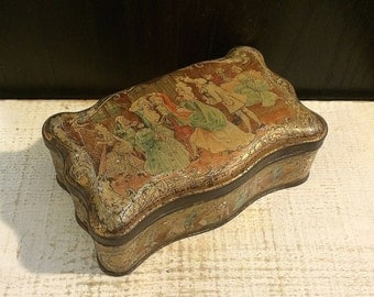 Beautiful Antique French Biscuit Tin, Minuet Scene, 18th Century Dancers, Pretty Patina, Biscuits Pernot, Paris, Romantic Trinket Box