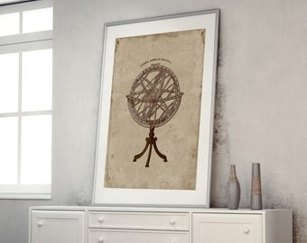 ON SALE armillary sphere rustic home decor astronomy poster astronomy print astronomy art astronomy gifts scientific instrument vintage art