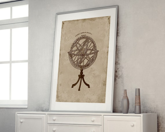 On Sale Armillary Sphere Rustic Home Decor Astronomy Poster