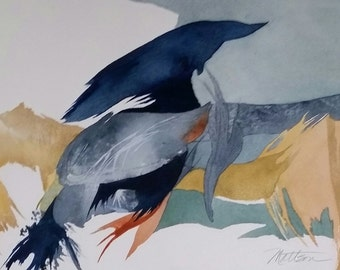 """Feather Song Series. """" Reminiscence of a Great Blue in the Marsh"""""""