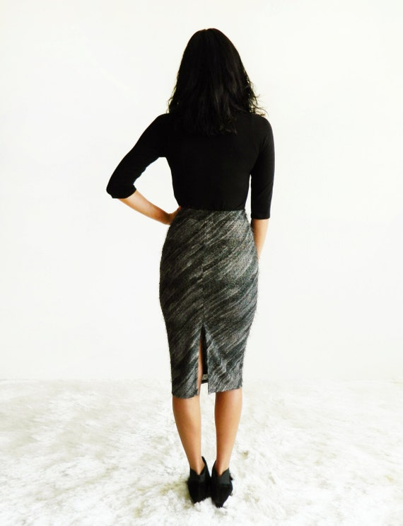 Charcoal & Gold Diagonal Stripe Eyelash Bouclé High Waist Pencil Skirt