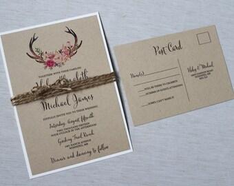 Rustic Wedding Invitation, Floral Wedding Invitation, Country Wedding invitation, Kraft Wedding Invitation, Woodland Invitation, Boho