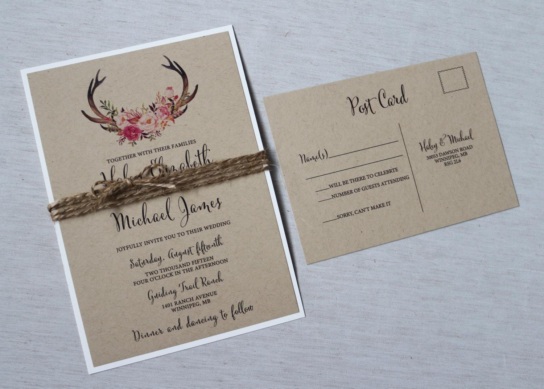 Boho Chic Wedding Invitations: Rustic Boho Chic Wedding Invitation Floral Wedding