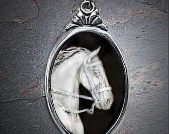 Horse necklace, Cameo, Saddlebred Horse cameo necklace
