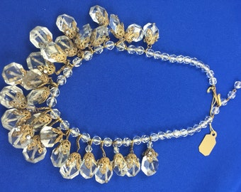 DeMarco Crystal & Golden Filligree Necklace