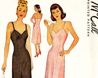 McCall 6646 Vintage 1940s Slip Sewing Pattern Size 18
