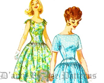 Simplicity 3314 Vintage 1960s Drop Waist Dress with Short Sleeves or Sleeveless with Shoulder Bows and Full Skirt Sewing Pattern Sz 16