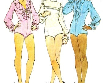 Simplicity 6042 Retro 1970s Body Suit with Neckline and Sleeve Ruffles Sewing Pattern Sz 14