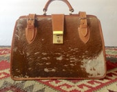Vintage Brown Leather Cowhide Doctor's Dr Bag Fur Large Purse Top Handle Western Natural Travel Hardware Mens Womens Handbag Luggage