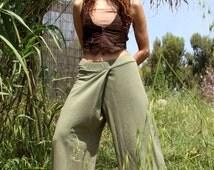 Green Wrap pants, Skirt pants trousers, Samurai pants, Fisherman pants, Sweatpants, Harem Pants, Maxi Pants, Comfy pants, Wide leg pants