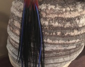 Long Feather Earrings with Red, Blue and Black Pheasant & Chicken Feathers