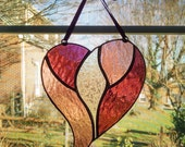 Heart Stained Glass Suncatcher - Pink and Purple Heart - Valentines Decor - Heart Ornament - Valentines Day Gift - Anniversary Wedding Gift