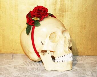 Blood RED Floral Arrangement Rose Headband Hairpiece Victorian