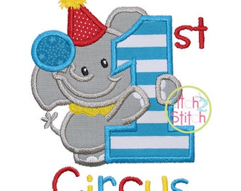 SAMPLE SALE:  First Circus Appliqued Shirt - Embroidered, Personalized, Monogram, Circus, First Circus, Elephant, Girls, Boys, Circus Shirt