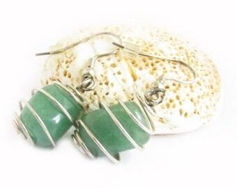 Wire Wrapped Earrings, Green Earrings, Dangle Earrings, Jade Earrings, Stone Earrings