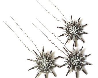Deco star burst hair pins, silver rhinestone star headpiece, Deco bridal headpiece