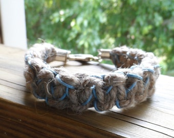 Thick Hemp Bracelet in Natural Color with Touch of Blue and Lobster Clasp